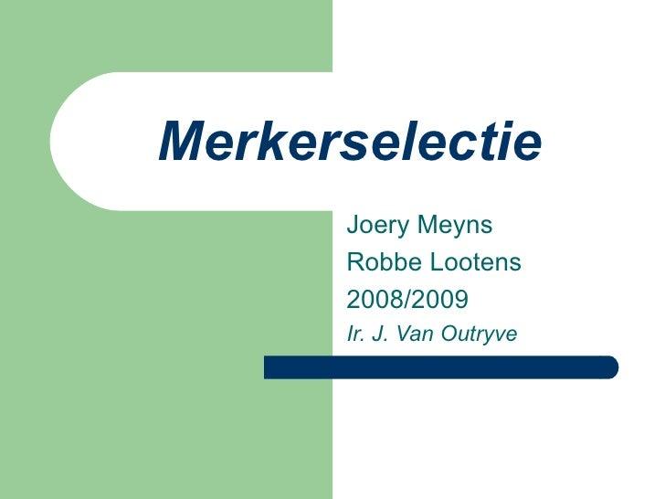 Merkerselectie Joery Meyns Robbe Lootens 2008/2009 Ir. J. Van Outryve