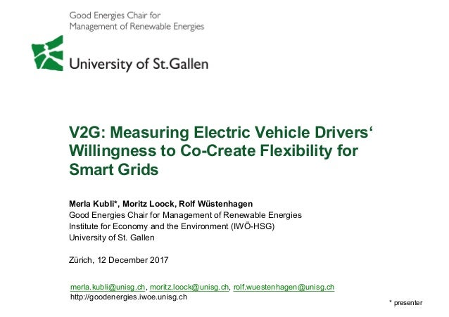 V2G: Measuring Electric Vehicle Drivers'   Willingness to Co-­Create  Flexibility for Smart  Grids Merla  Kubli*,  Moritz ...