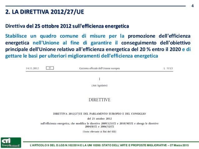 Decreto legislativo 4 luglio 2014 n 102 scarico a parete