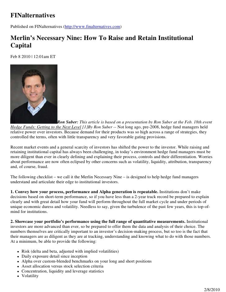 FINalternatives Published on FINalternatives (http://www.finalternatives.com)  Merlin's Necessary Nine: How To Raise and R...
