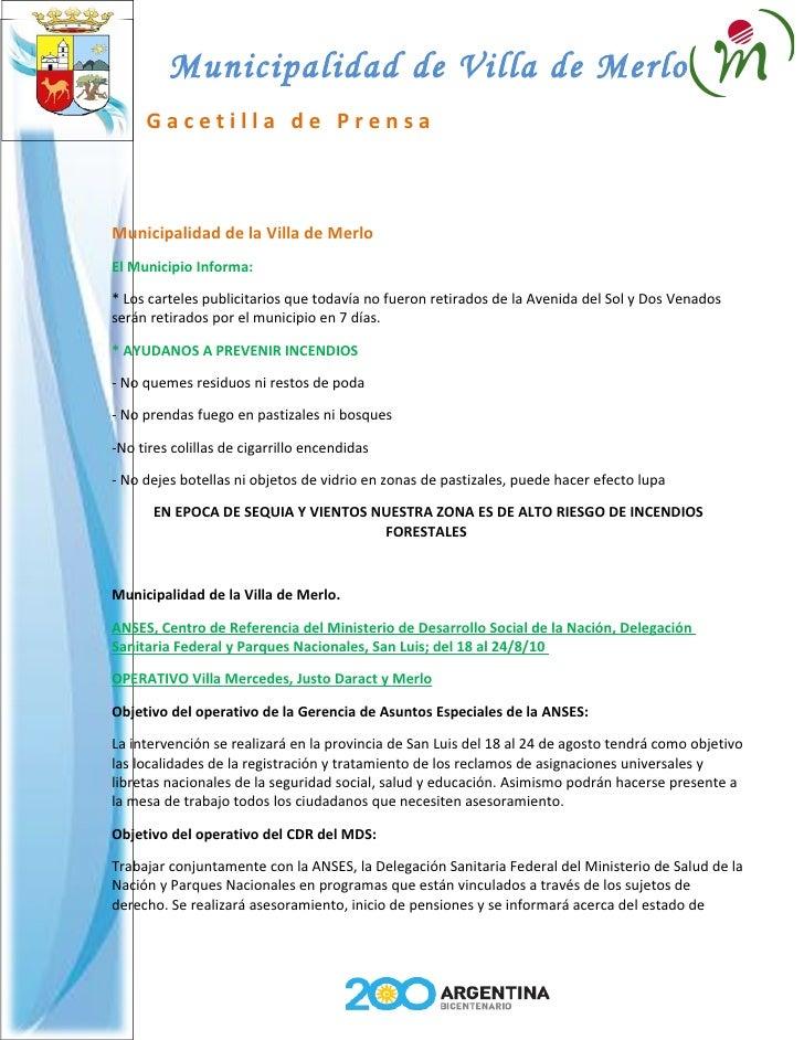 Municipalidad de Villa de Merlo      Gacetilla de Prensa    Municipalidad de la Villa de Merlo El Municipio Informa:  * Lo...