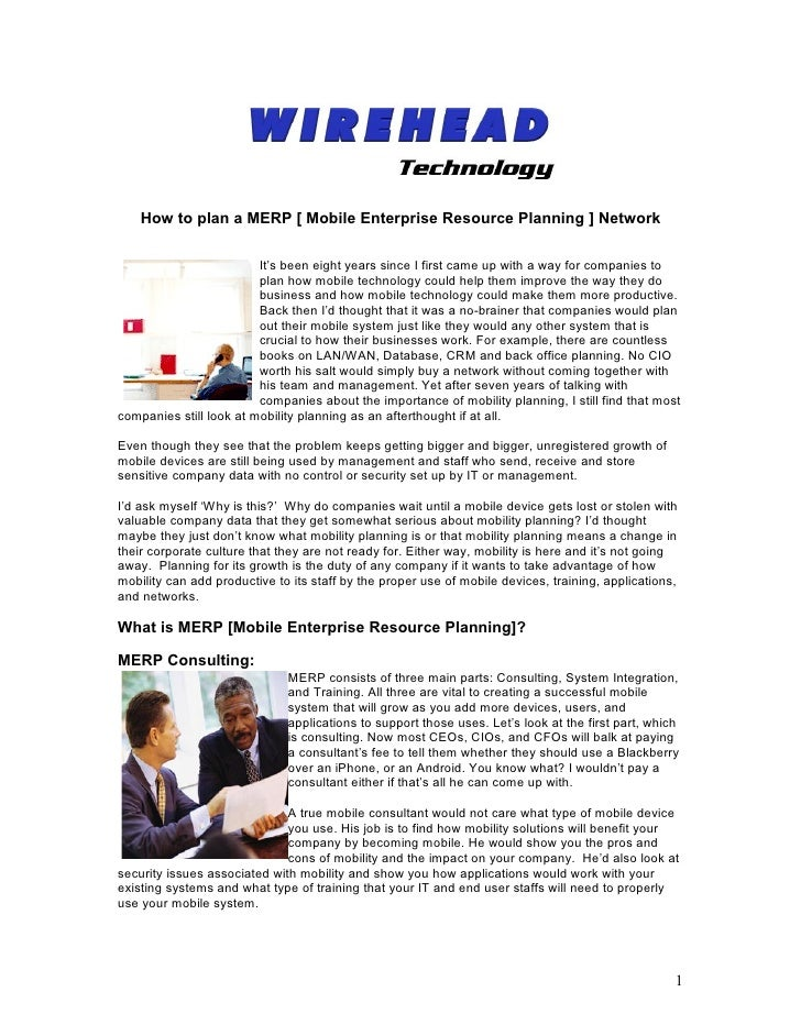 How to plan a MERP [ Mobile Enterprise Resource Planning ] Network                         It's been eight years since I f...