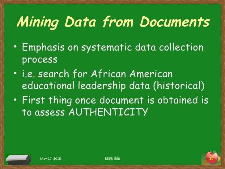 Mining Data from Documents <ul><li>Emphasis on systematic data collection process </li></ul><ul><li>i.e. search for Africa...