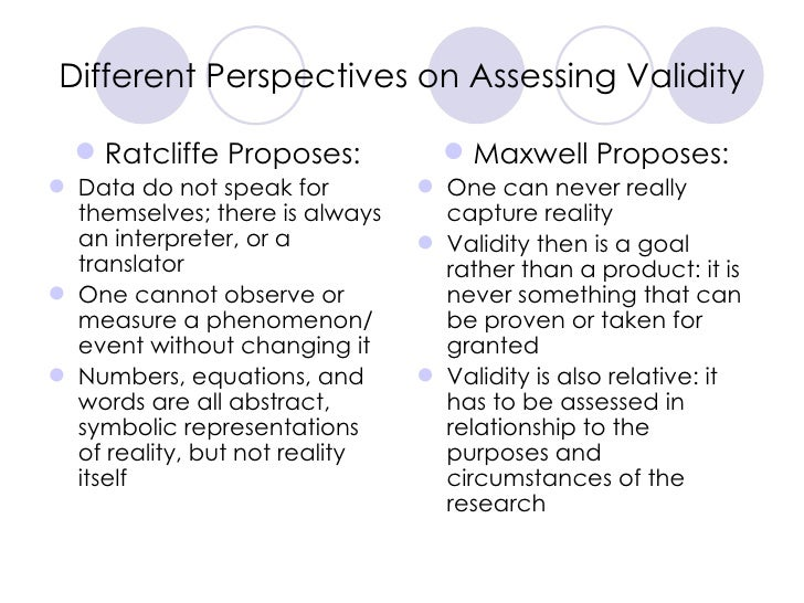 Different Perspectives on Assessing Validity <ul><li>Ratcliffe Proposes: </li></ul><ul><li>Data do not speak for themselve...