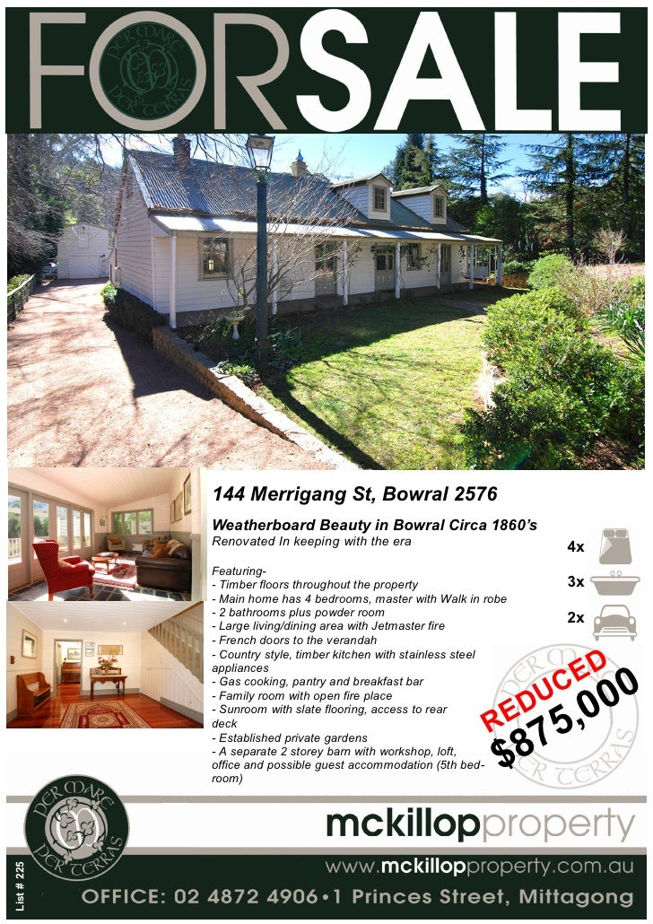 144 Merrigang St, Bowral 2576              Weatherboard Beauty in Bowral Circa 1860's              Renovated In keeping wi...