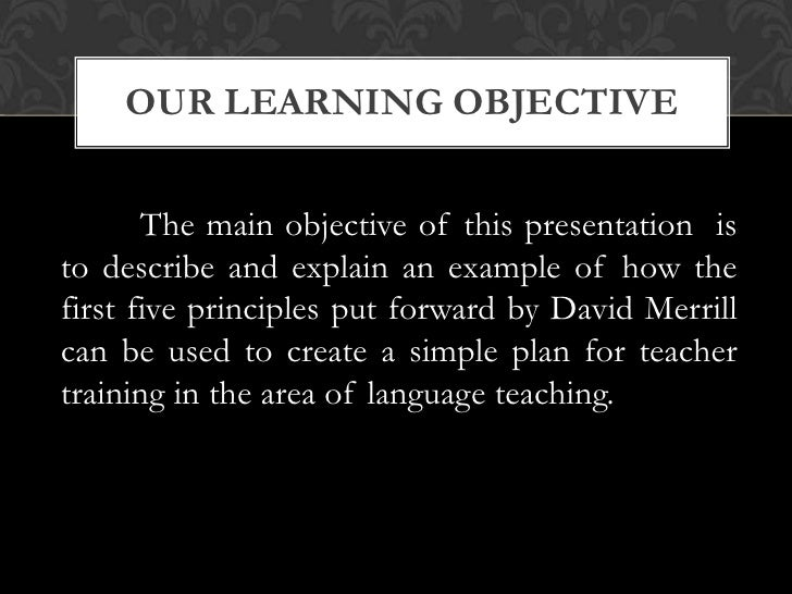 Merrill S First Principles Of Instruction