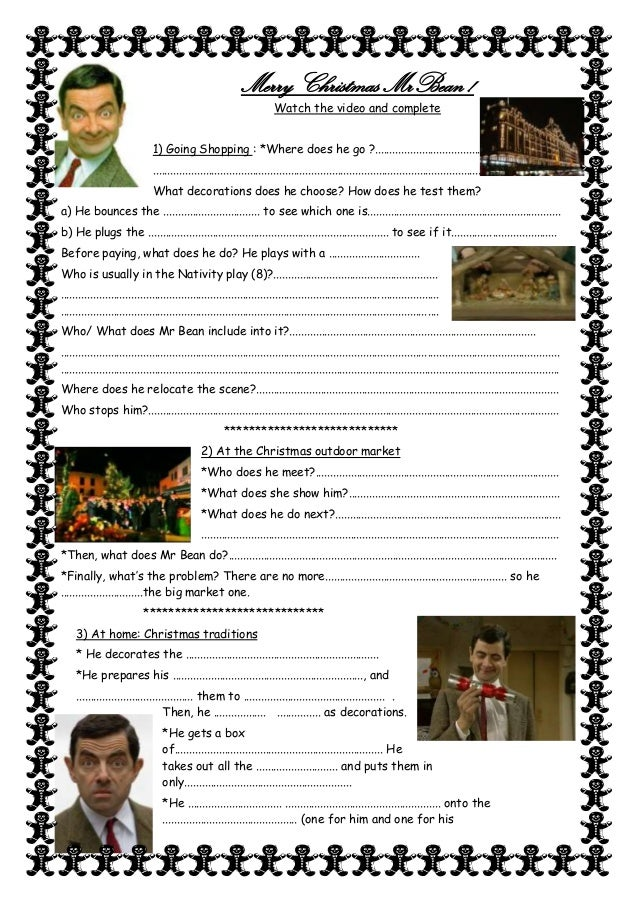 merry christmas mrbean watch the video and complete 1 going shopping where - Merry Christmas Mr Bean