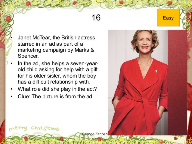 George Zacharia 16 • Janet McTear, the British actress starred in an ad as part of a marketing campaign by Marks & Spencer...