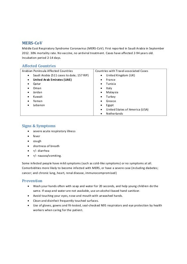 MERS‐CoV MiddleEastRespiratorySyndromeCoronavirus(MERS‐CoV).FirstreportedinSaudiArabiainSeptember 2012.30%...