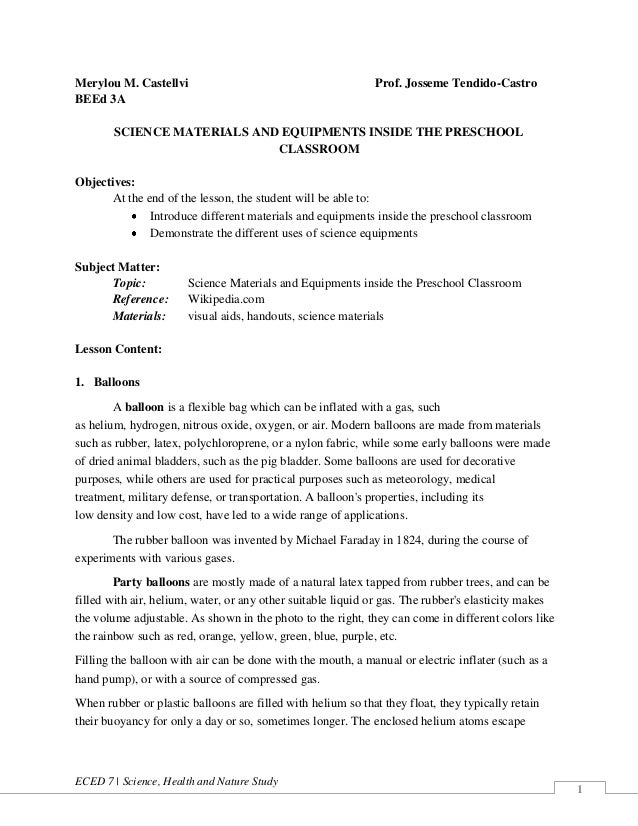 ECED 7 | Science, Health and Nature Study 1 Merylou M. Castellvi Prof. Josseme Tendido-Castro BEEd 3A SCIENCE MATERIALS AN...