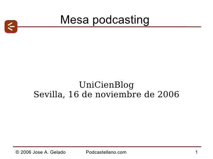 Mesa podcasting UniCienBlog Sevilla, 16 de noviembre de 2006