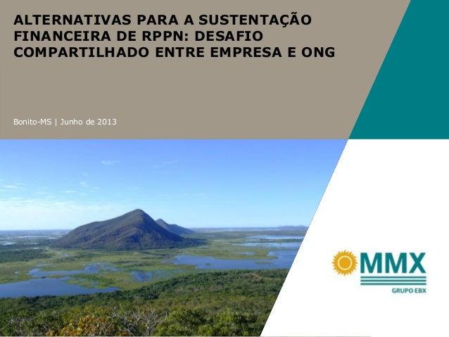 Bonito-MS   Junho de 2013 ALTERNATIVAS PARA A SUSTENTAÇÃO FINANCEIRA DE RPPN: DESAFIO COMPARTILHADO ENTRE EMPRESA E ONG