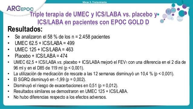 Mesa 3. Tratamiento Triple terapia de UMEC y ICS/LABA vs. placebo y ICS/LABA en pacientes con EPOC GOLD D Resultados: • Se...