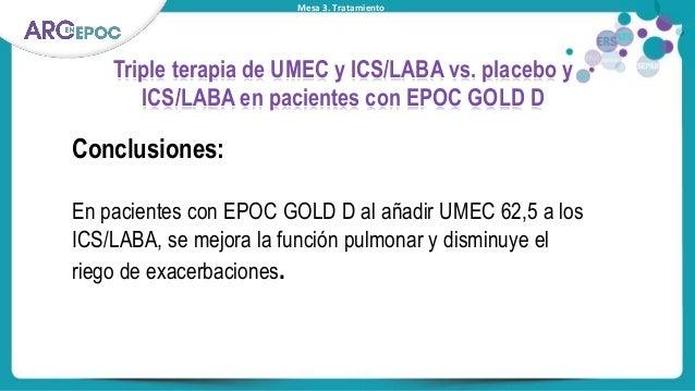 Mesa 3. Tratamiento Triple terapia de UMEC y ICS/LABA vs. placebo y ICS/LABA en pacientes con EPOC GOLD D Conclusiones: En...