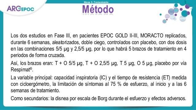 Mesa 3. Tratamiento Método Los dos estudios en Fase III, en pacientes EPOC GOLD II-III, MORACTO replicados, durante 6 sema...