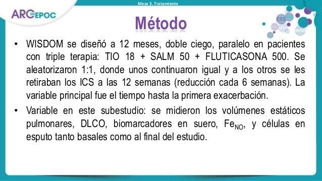 Mesa 3. Tratamiento Método • WISDOM se diseñó a 12 meses, doble ciego, paralelo en pacientes con triple terapia: TIO 18 + ...
