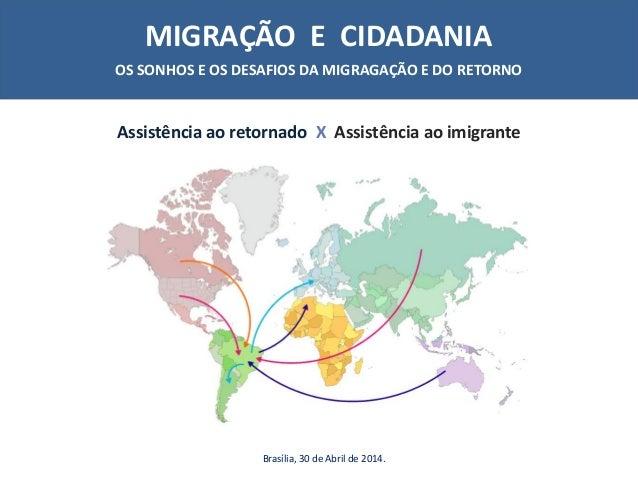 MIGRAÇÃO E CIDADANIA OS SONHOS E OS DESAFIOS DA MIGRAGAÇÃO E DO RETORNO Assistência ao retornado X Assistência ao imigrant...