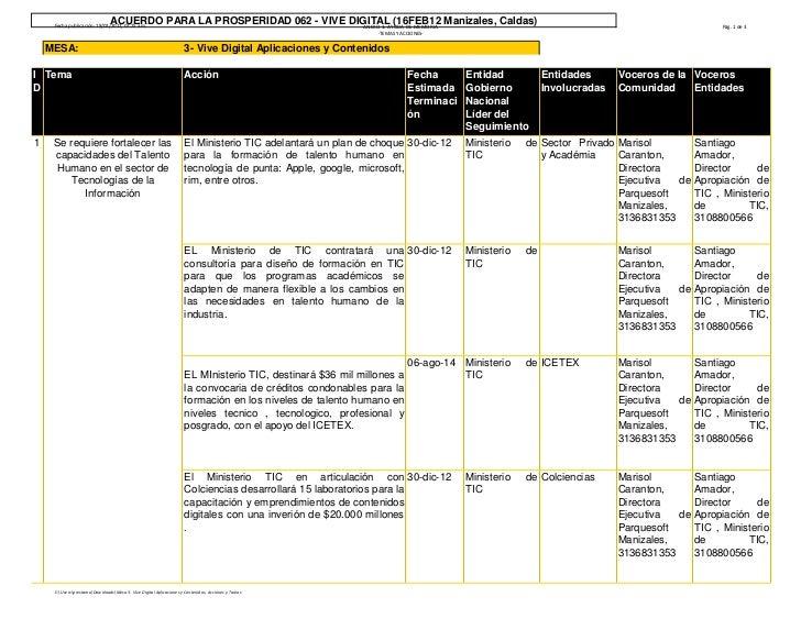 ACUERDO PARA LA PROSPERIDAD 062 - VIVE DIGITAL (16FEB12 Manizales, Caldas)     Fecha publicación: 18/02/2012, 07:25 a.m.  ...