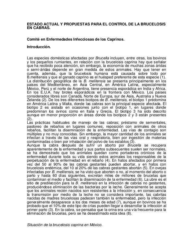 ESTADO ACTUAL Y PROPUESTAS PARA EL CONTROL DE LA BRUCELOSIS EN CABRAS. Comité en Enfermedades Infecciosas de los Caprinos....