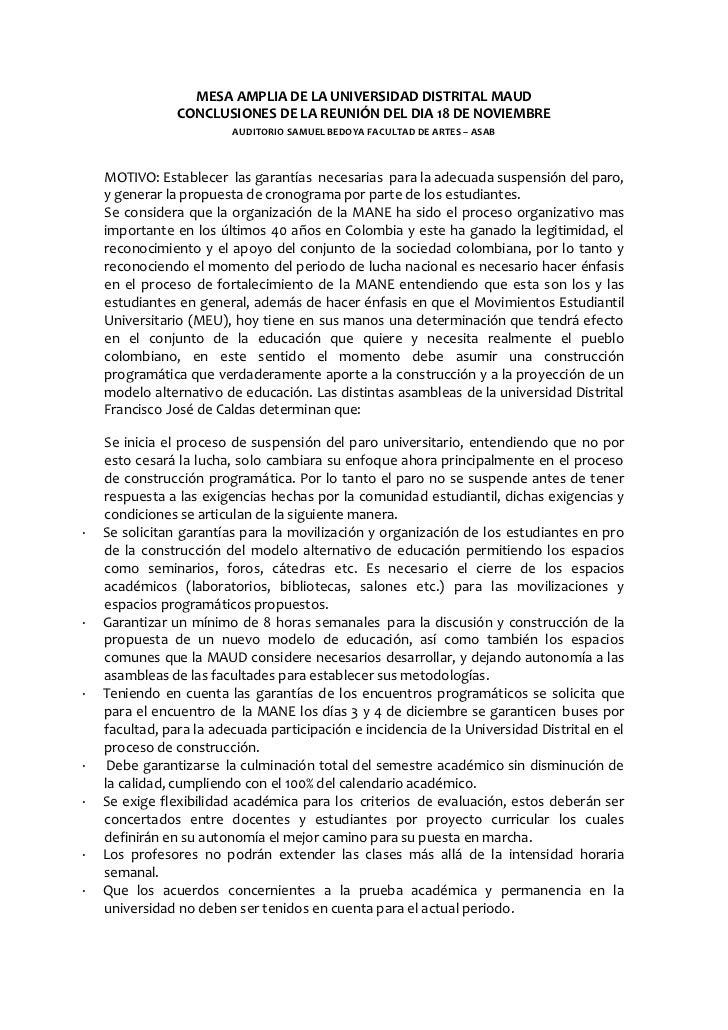 MESA AMPLIA DE LA UNIVERSIDAD DISTRITAL MAUD                CONCLUSIONES DE LA REUNIÓN DEL DIA 18 DE NOVIEMBRE            ...