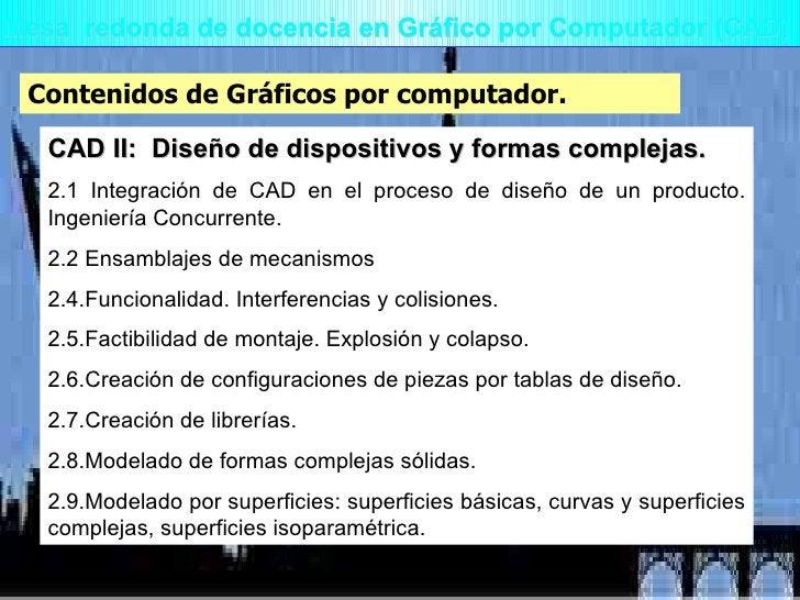 Mesa  redonda de docencia en Gráfico por Computador (CAD) Contenidos de Gráficos por computador. CAD II:  Diseño de dispos...