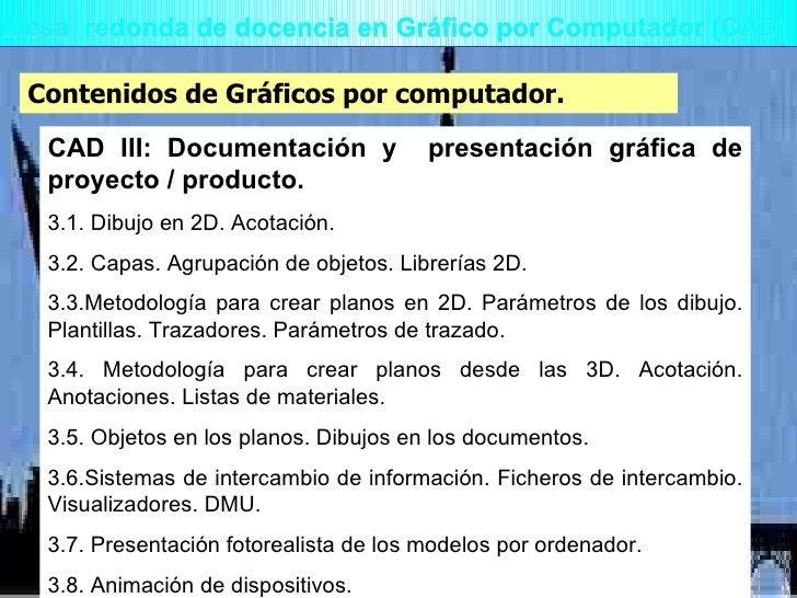Mesa  redonda de docencia en Gráfico por Computador (CAD) Contenidos de Gráficos por computador. CAD III: Documentación y ...