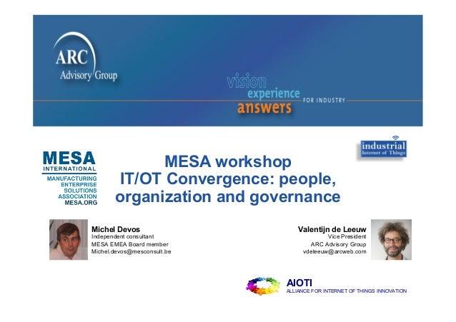 MESA workshop IT/OT Convergence: people, organization and governance Valentijn de Leeuw Vice President ARC Advisory Group ...