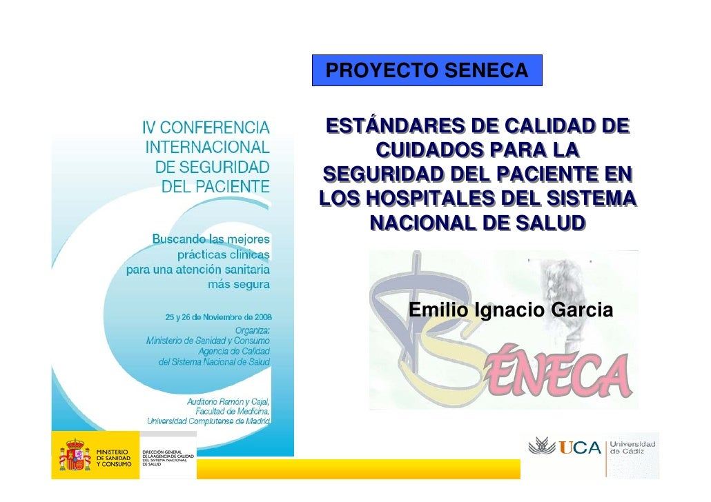 PROYECTO SENECA   ESTÁNDARES DE CALIDAD DE      CUIDADOS PARA LA SEGURIDAD DEL PACIENTE EN LOS HOSPITALES DEL SISTEMA     ...
