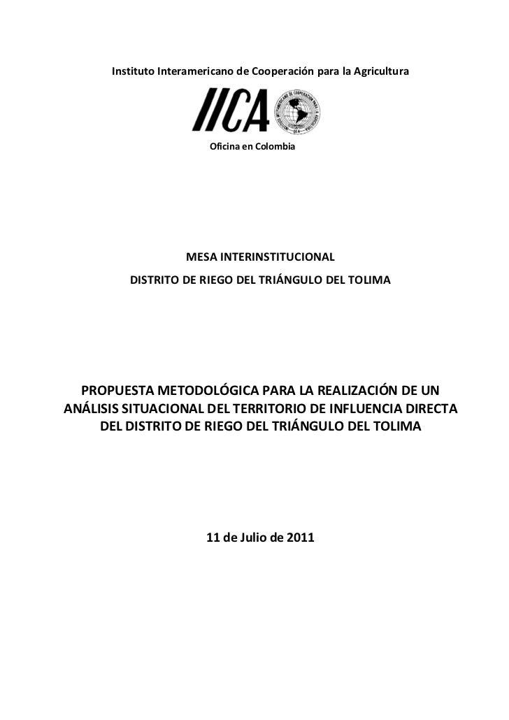 Instituto Interamericano de Cooperación para la Agricultura                         Oficina en Colombia                   ...