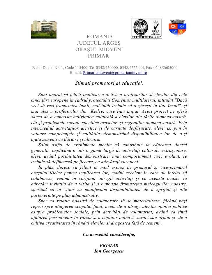 ROMÂNIA                        JUDEłUL ARGEŞ                        ORAŞUL MIOVENI                           PRIMAR  B-dul...