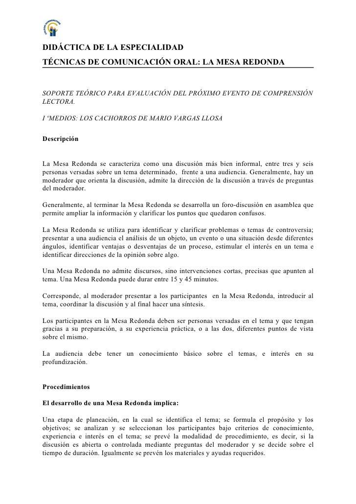 DIDÁCTICA DE LA ESPECIALIDAD TÉCNICAS DE COMUNICACIÓN ORAL: LA MESA REDONDA   SOPORTE TEÓRICO PARA EVALUACIÓN DEL PRÓXIMO ...