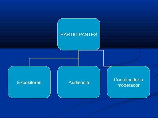 PARTICIPANTES Expositores Audiencia Coordinador o moderador