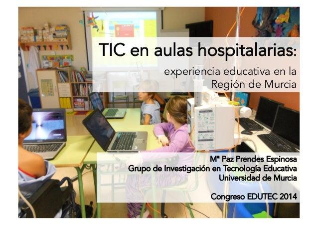 TIC en aulas hospitalarias: experiencia educativa en la Región de Murcia Mª Paz Prendes Espinosa Grupo de Investigación en...