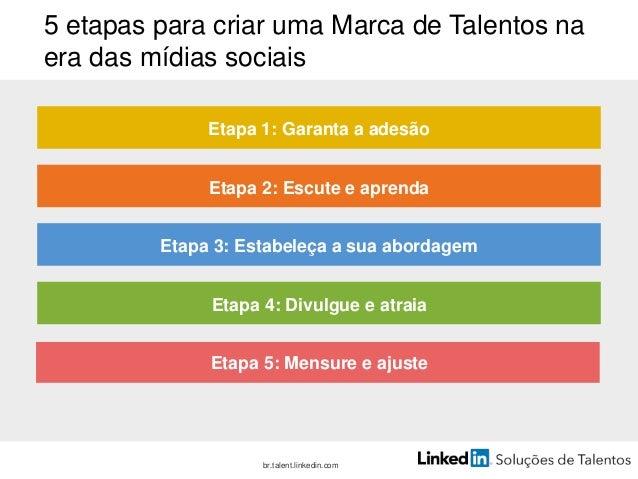 Etapa 1: garanta a adesão Comece pelo topo. • O CEO e a sua equipe precisam apoiar a sua Marca de Talentos e se compromete...