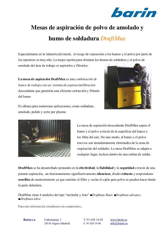 Mesas de aspiración de polvo de amolado y humo de soldadura DraftMax Especialmente en la industria del metal, el riesgo de...