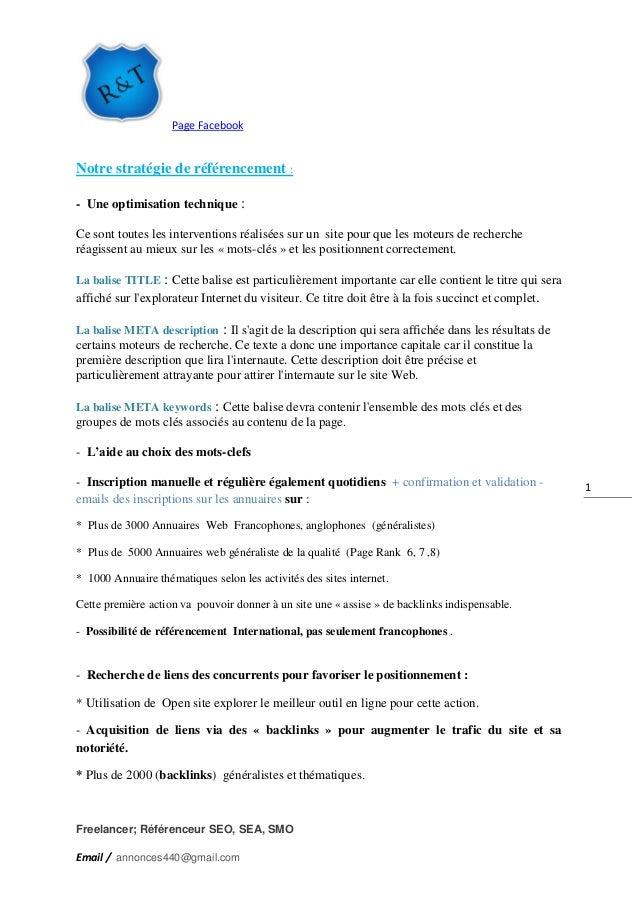 Page Facebook Freelancer; Référenceur SEO, SEA, SMO Email / annonces440@gmail.com 1 Notre stratégie de référencement : - U...