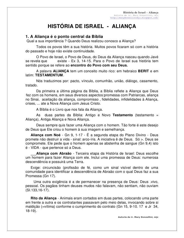 História de Israel – Aliança                                                               Autoria de ir. Mary Donzellini,...