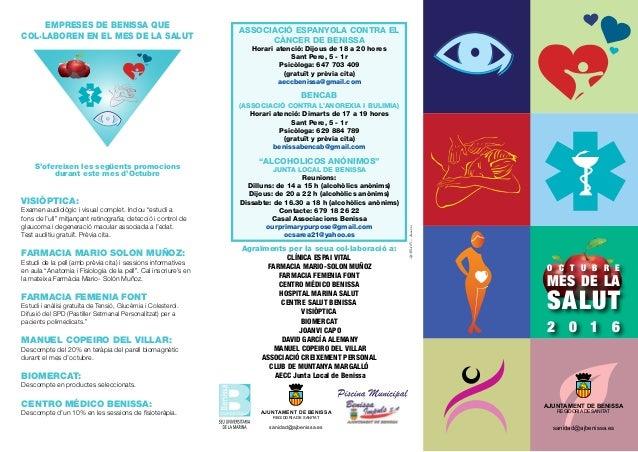 EMPRESES DE BENISSA QUE COL·LABOREN EN EL MES DE LA SALUT S'ofereixen les següents promocions durant este mes d'Octubre VI...