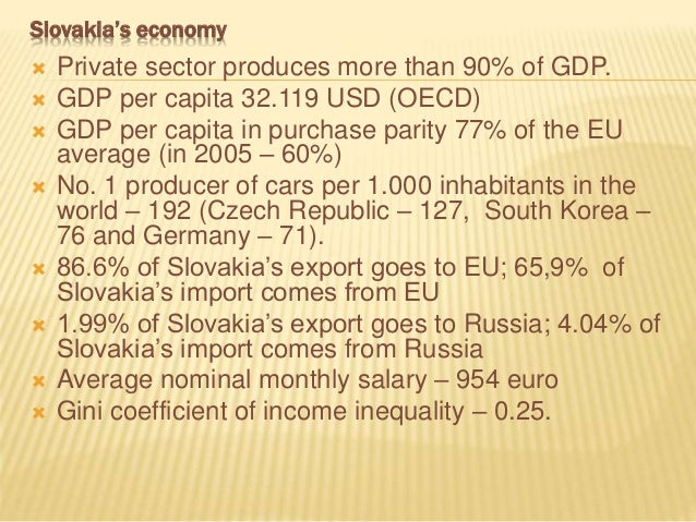 Slovakia's economy  Private sector produces more than 90% of GDP.  GDP per capita 32.119 USD (OECD)  GDP per capita in ...