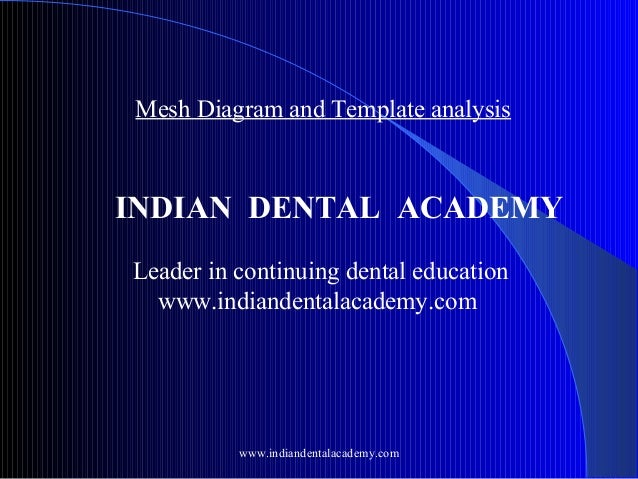 Mesh Diagram and Template analysis  INDIAN DENTAL ACADEMY Leader in continuing dental education www.indiandentalacademy.co...