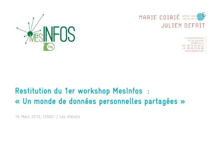 Restitution du 1er workshop MesInfos :« Un monde de données personnelles partagées »16 Mars 2012, l'ENSCI / Les AteliersSY...