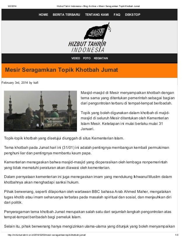 3/2/2014  Hizbut Tahrir Indonesia » Blog Archive » Mesir Seragamkan Topik Khotbah Jumat  HOME  BERITA TERBARU  VIDEO  TENT...