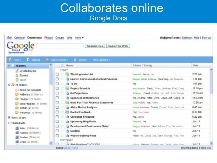Collaborates online      Google Docs