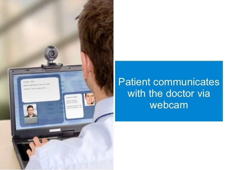 Patient communicates  with the doctor via        webcam
