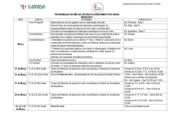 Agrupamento de Escolas Rio Arade (145130)                                        PROGRAMAÇÃO DO MÊS DA LEITURA DO AGRUPAME...