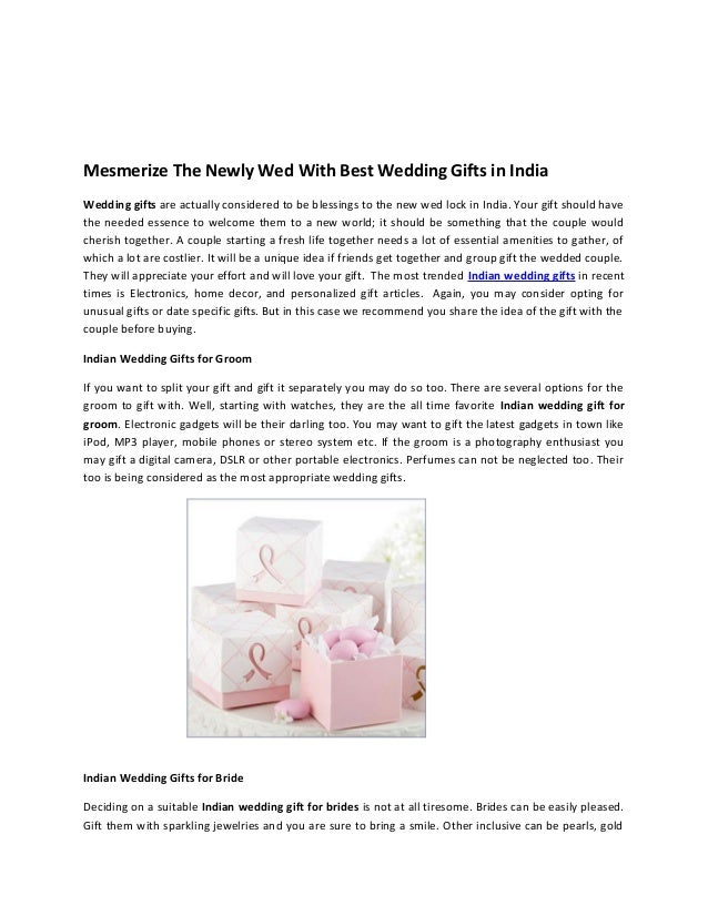 Mesmerize The Newly Wed With Best Wedding Gifts In India