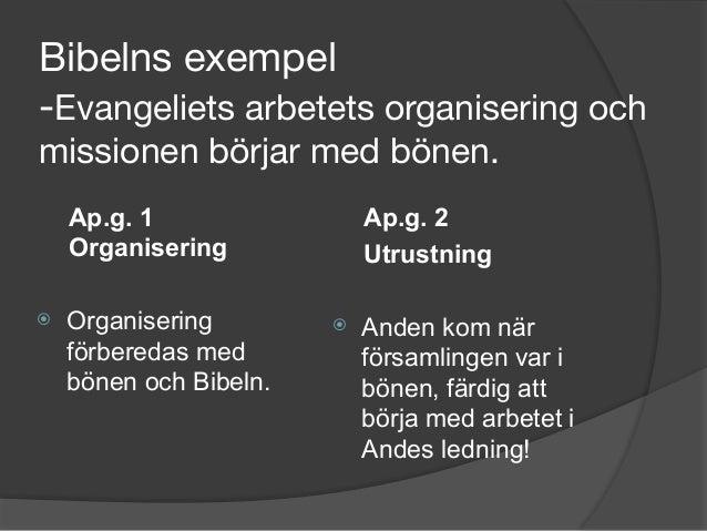 Bibelns exempel -Evangeliets arbetets organisering och missionen börjar med bönen. Ap.g. 1 Organisering ⦿ Organisering fö...