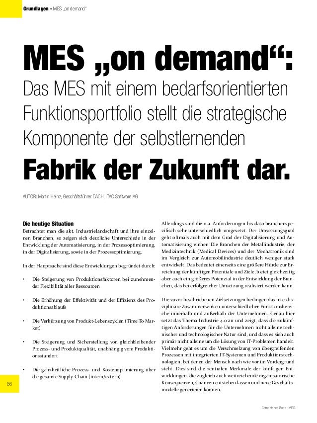 """86 Competence Book - MES Grundlagen - MES """"on demand"""" MES """"on demand"""": Das MES mit einem bedarfsorientierten Funktionsport..."""