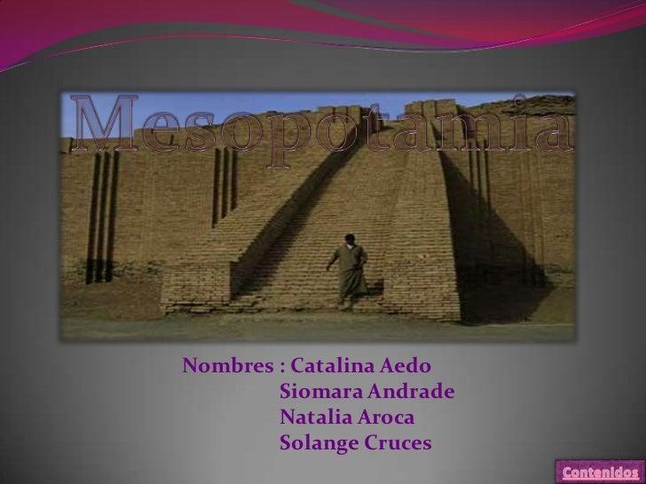 Nombres : Catalina Aedo        Siomara Andrade        Natalia Aroca        Solange Cruces