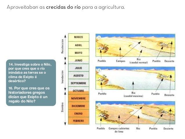 Aproveitaban as crecidas do río para a agricultura. 14. Investiga sobre o Nilo, por que cres que o río inindaba as terras ...